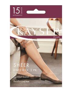 Kayser Plus Silky Elastane  Sheer Knee Hi 2 pair pack