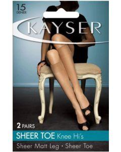Kayser Sheer Toe Knee Hi's (2 pair pack)