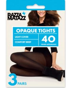 Razzamatazz 40 Denier Opaque Tights 3 Pair Pack