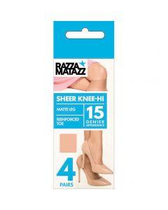 Razzamatazz Sheer 15 Denier Knee Hi 4 pair pack