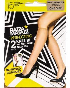 Razzamatazz Perfecting Sheer Toe Knee Hi 2 pair pack