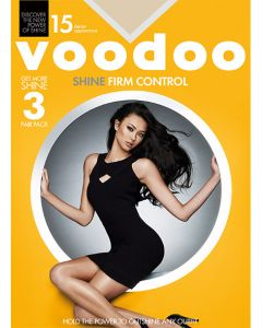 Voodoo Firm Control Pantyhose 3 pair pack with Reinforced Toe