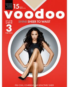 Voodoo Shine Sheer To Waist 3 pair pack